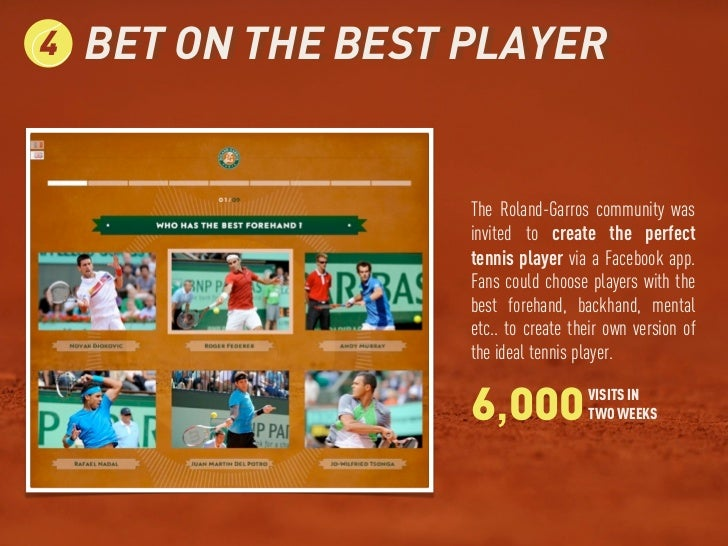 4   BET ON THE BEST PLAYER                    The Roland-Garros community was                    invited to create the per...