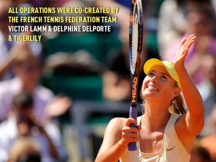 ALL OPERATIONS WERE CO-CREATED BYTHE FRENCH TENNIS FEDERATION TEAMVICTOR LAMM & DELPHINE DELPORTE& TIGERLILY