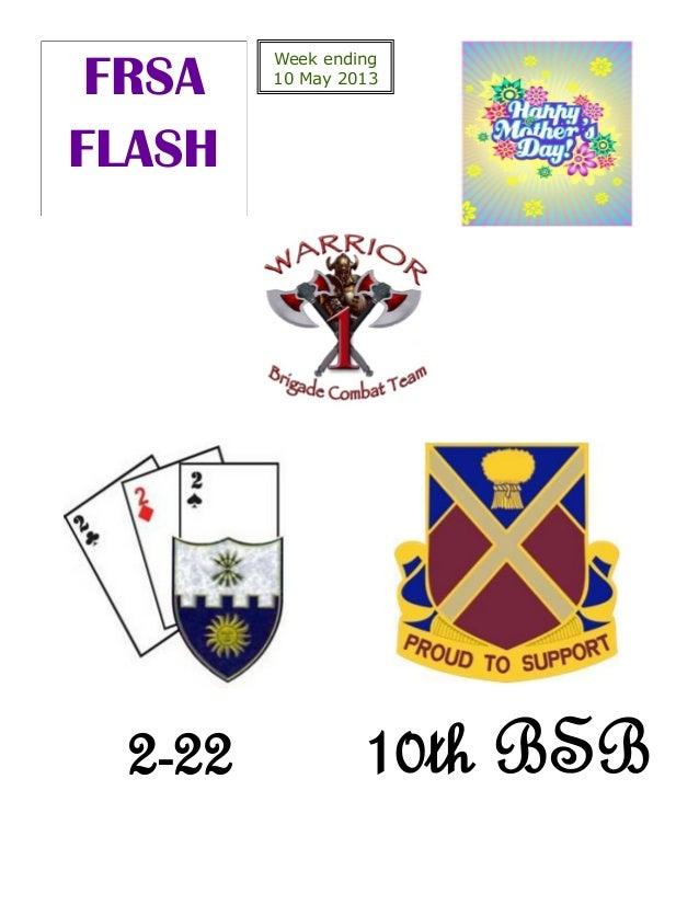 Week ending10 May 2013FRSAFLASH2-22 10th BSB