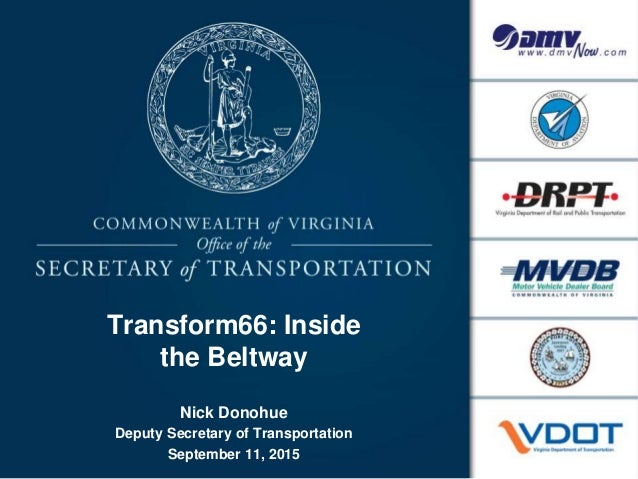 Transform66: Inside the Beltway Nick Donohue Deputy Secretary of Transportation September 11, 2015