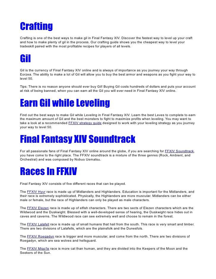 Final Fantasy XIV (FFXIV) Online Strategy Guide