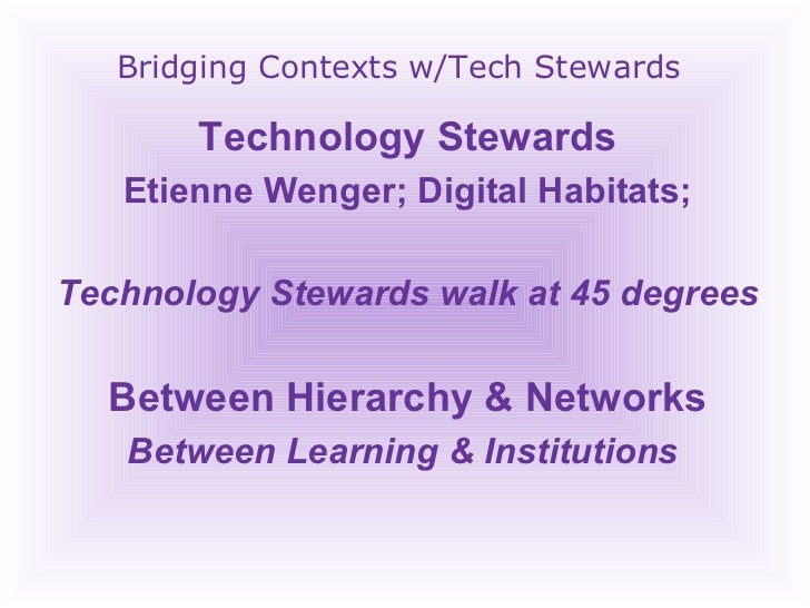 Bridging Contexts w/Tech Stewards Technology Stewards Etienne Wenger; Digital Habitats; Technology Stewards walk at 45 deg...