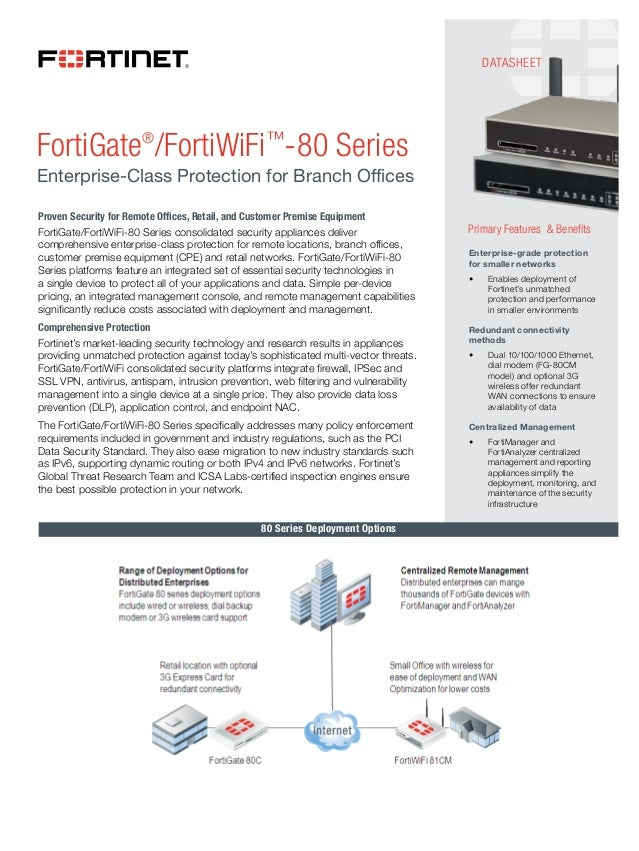 DATASHEETFortiGate®/FortiWiFi™-80 SeriesEnterprise-Class Protection for Branch OfficesProven Security for Remote Offices, ...