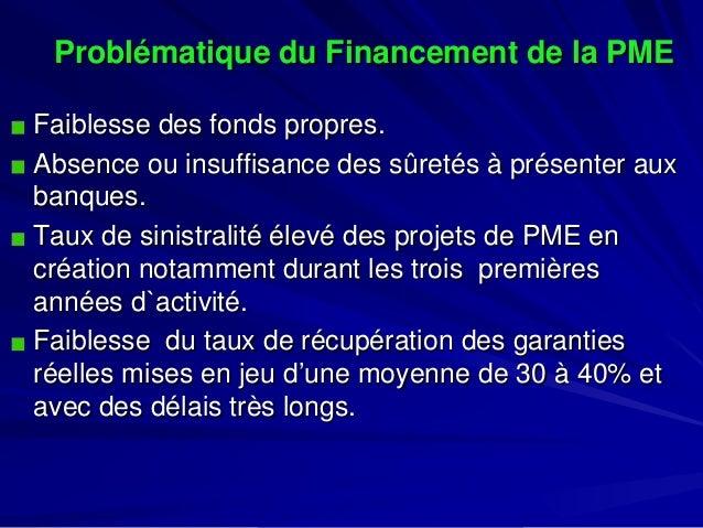 Problématique du Financement de la PME  Faiblesse des fonds propres.  Absence ou insuffisance des sûretés à présenter aux ...