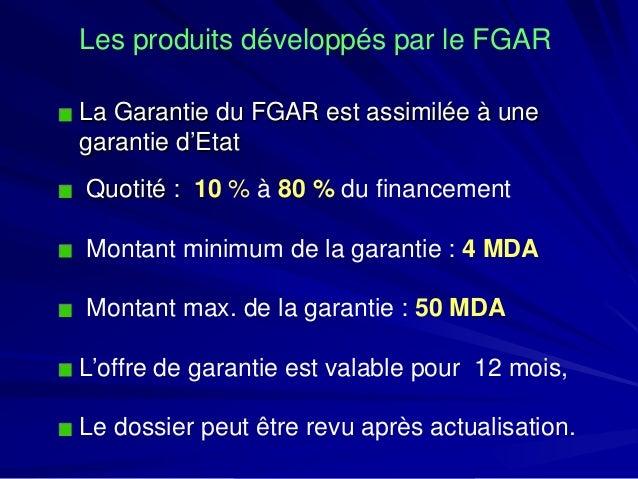 Les produits développés par le FGAR  La Garantie du FGAR est assimilée à une garantie d'Etat  Quotité : 10 % à80 %du finan...
