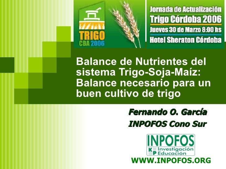 Balance de Nutrientes del sistema Trigo-Soja-Maíz:  Balance necesario para un buen cultivo de trigo Fernando O. García INP...
