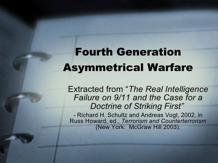 """Fourth Generation Asymmetrical Warfare Extracted from """" The Real Intelligence Failure on 9/11 and the Case for a Doctrine ..."""
