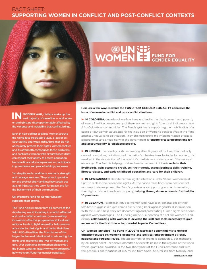 FACT SHEET:SUPPORTING WOMEN IN CONFLICT AND POST-CONFLICT CONTEXTS                                                     Her...