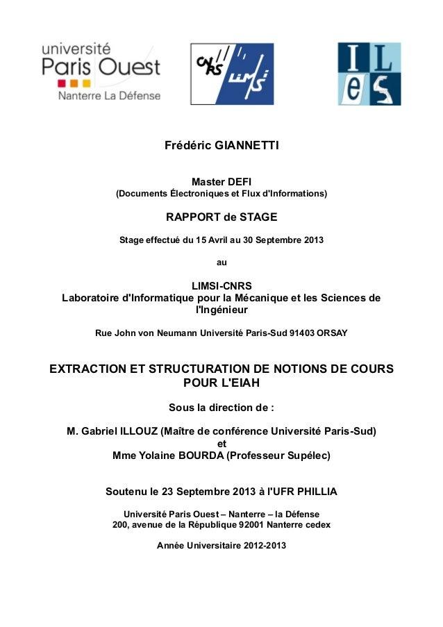 Frédéric GIANNETTI Master DEFI (Documents Électroniques et Flux d'Informations) RAPPORT de STAGE Stage effectué du 15 Avri...
