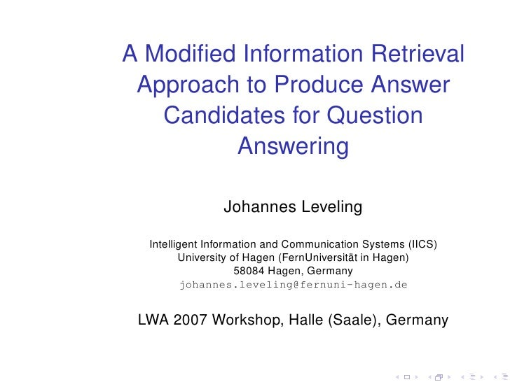 A Modified Information Retrieval  Approach to Produce Answer    Candidates for Question          Answering                 ...