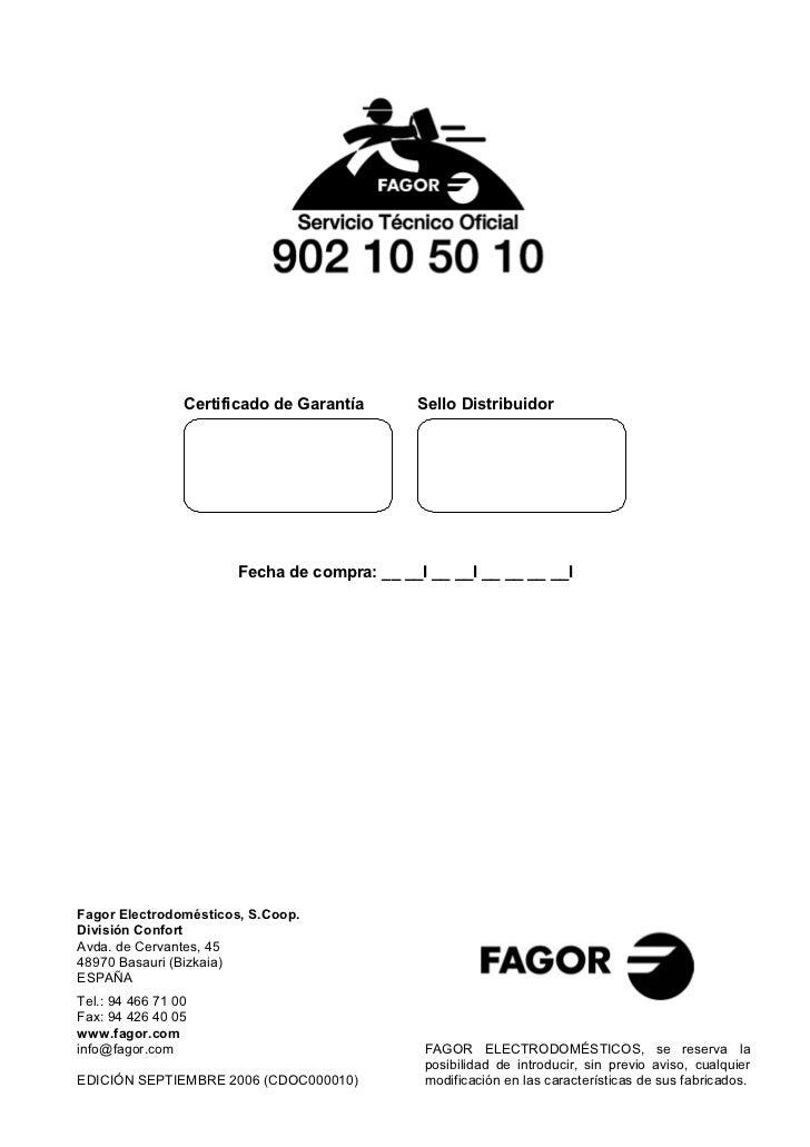 Fgl 27 m 38m sep 06 servicio tecnico fagor for Servicio tecnico fagor granada