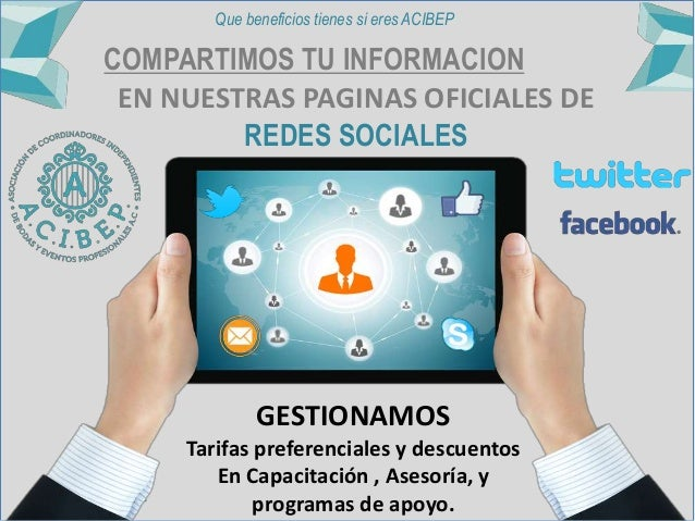 COMPARTIMOS TU INFORMACION EN NUESTRAS PAGINAS OFICIALES DE REDES SOCIALES GESTIONAMOS Tarifas preferenciales y descuentos...