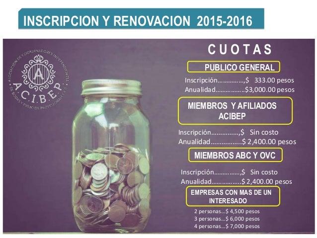 INSCRIPCION Y RENOVACION 2015-2016 C U O T A S PUBLICO GENERAL Inscripción……………,$ 333.00 pesos Anualidad……………..$3,000.00 p...