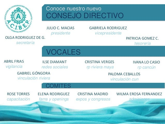 Conoce nuestro nuevo CONSEJO DIRECTIVO JULIO C. MACIAS presidente GABRIELA RODRIGUEZ vicepresidente OLGA RODRIGUEZ DE G. s...
