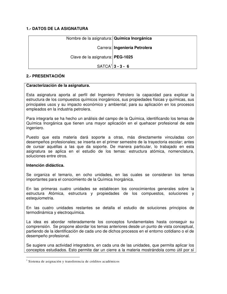 1.- DATOS DE LA ASIGNATURA                            Nombre de la asignatura: Química Inorgánica                         ...