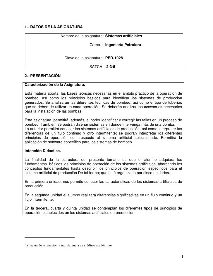 1.- DATOS DE LA ASIGNATURA                           Nombre de la asignatura: Sistemas artificiales                       ...
