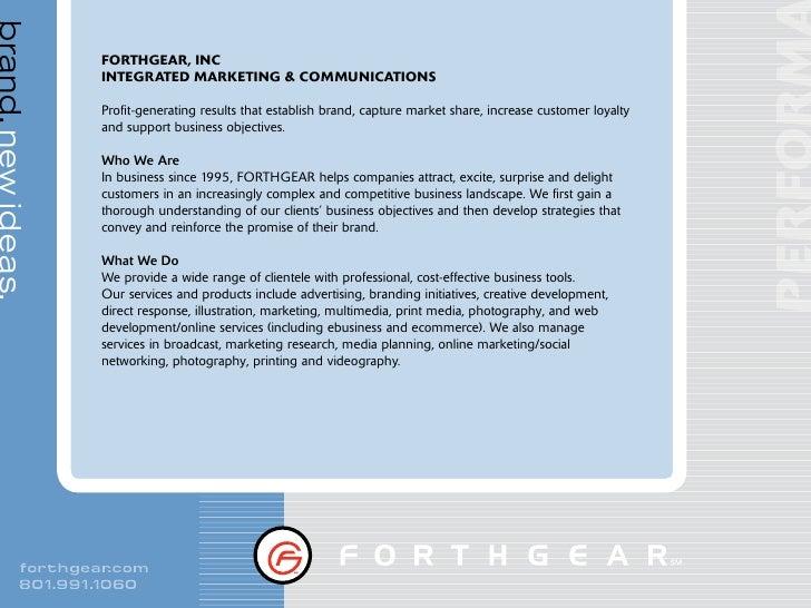 brand. new ideas.                      FORTHGEAR, INC                     INTEGRATED MARKETING & COMMUNICATIONS           ...