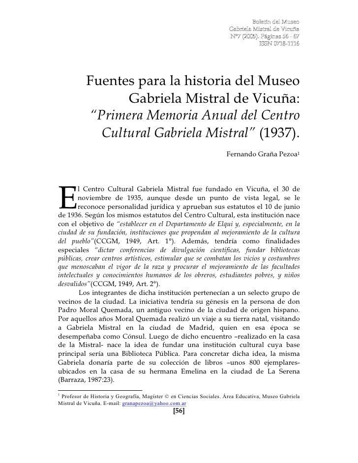 "Fuentes para la historia del Museo                  Gabriela Mistral de Vicuña:            ""Primera Memoria Anual del Cent..."