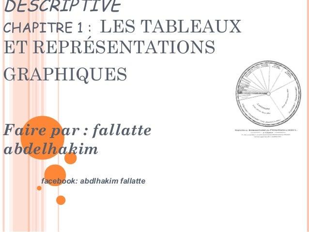 DESCRIPTIVE CHAPITRE 1 : LES TABLEAUX ET REPRÉSENTATIONS GRAPHIQUES Faire par : fallatte abdelhakim facebook: abdlhakim fa...