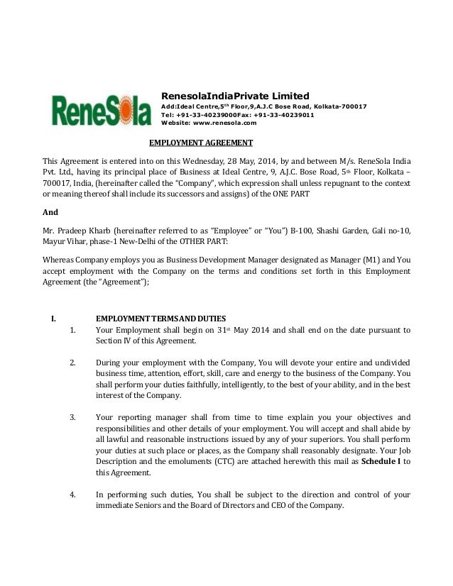 terms of employment contract template - renesola india employment agreement