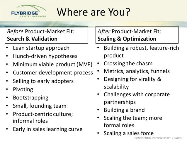 CONFIDENTIAL PRESENTATION   PAGE5 Where are You? Before Product-Market Fit: Search & Validation • Lean startup approach • ...
