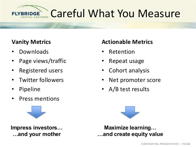 CONFIDENTIAL PRESENTATION   PAGE6 Careful What You Measure Vanity Metrics • Downloads • Page views/traffic • Registered us...