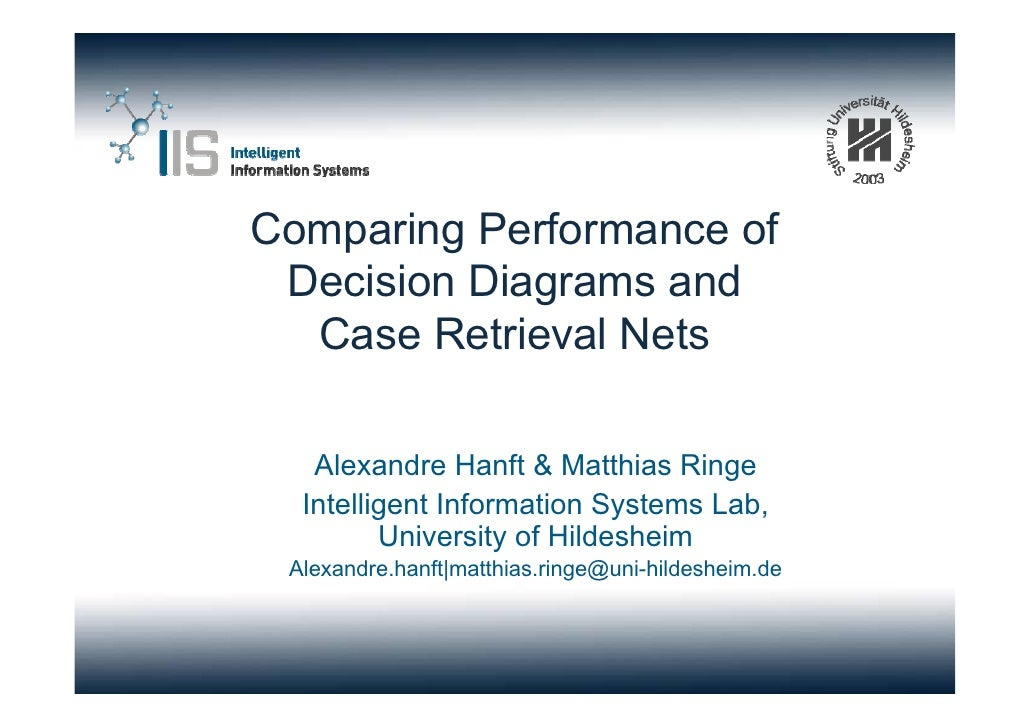 Comparing Performance of  Decision Diagrams and   Case Retrieval Nets     Alexandre Hanft & Matthias Ringe   Intelligent I...