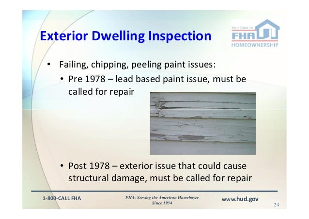 Fha appraisal and inspection issues for Lead based paint inspection
