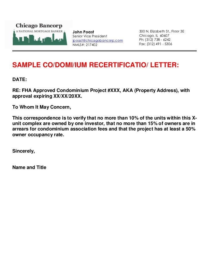 Sample Request Letter To Condo Association