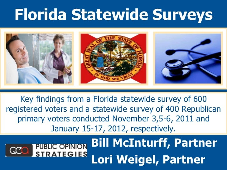 Key findings from a Florida statewide survey of 600 registered voters and a statewide survey of 400 Republican primary vot...