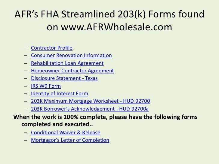 FHA Streamline 203[k] Wholesale