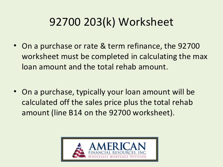 Printables Fha Streamline Calculation Worksheet fha streamline 203k powerpoint 34999 50 19