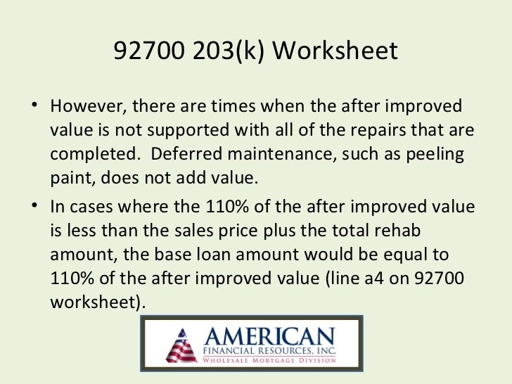 fha 203k worksheet