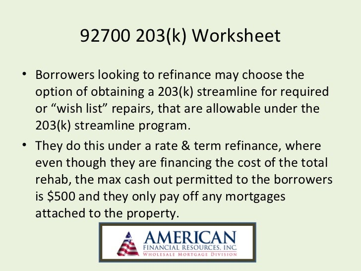 Worksheet Fha Refinance Worksheet fha streamline 203k powerpoint 23