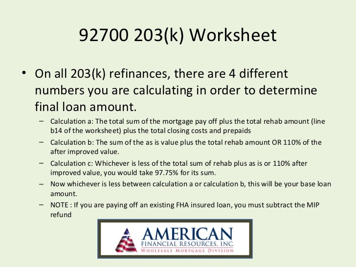 Printables Fha Streamline Refinance Calculator Worksheet fha streamline 203k powerpoint 25