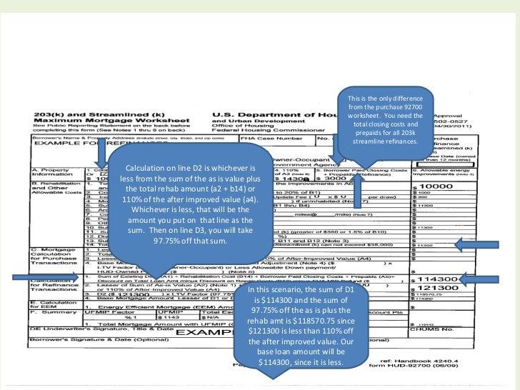 Fha streamline 203k powerpoint – Closing Cost Worksheet