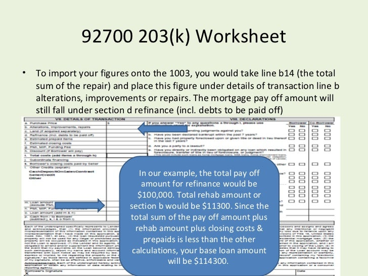 Worksheet Fha Streamline Worksheet fha streamline 203k powerpoint 27