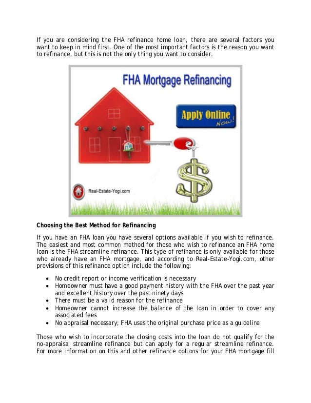 FHA Streamline Mortgage Refinance Program For People With Bad Credit