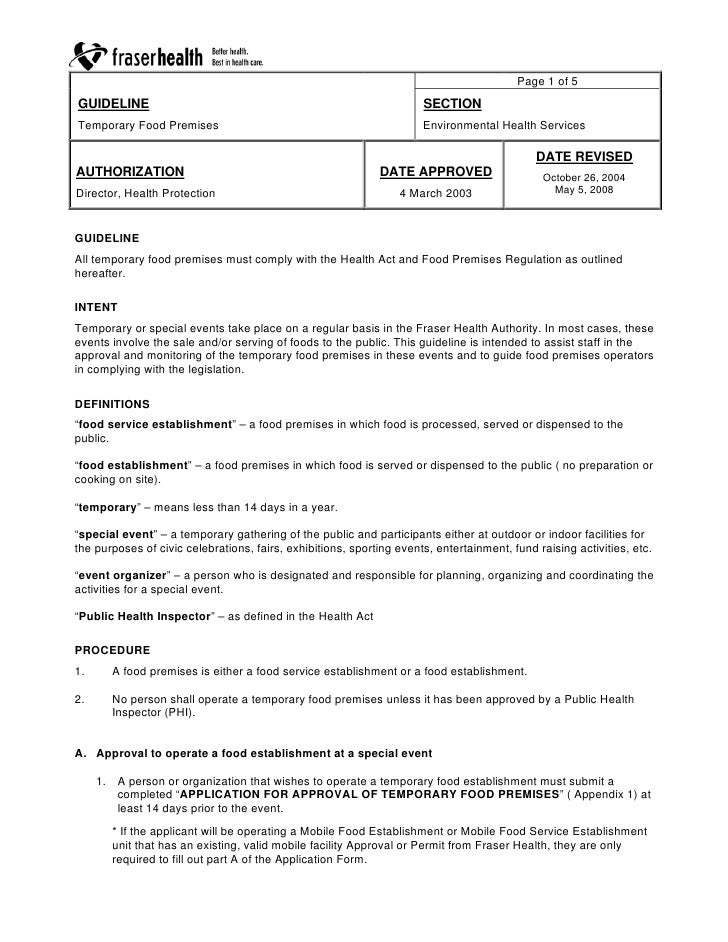 Page 1 of 5 GUIDELINE                                                             SECTION Temporary Food Premises         ...