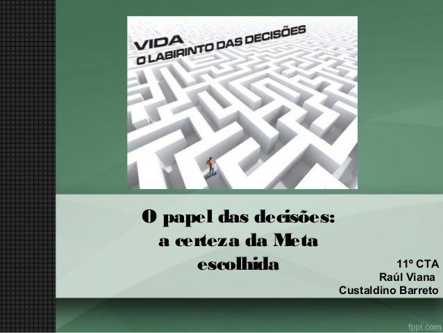 O papel das decisões: a certeza da M eta escolhida  11º CTA Raúl Viana Custaldino Barreto