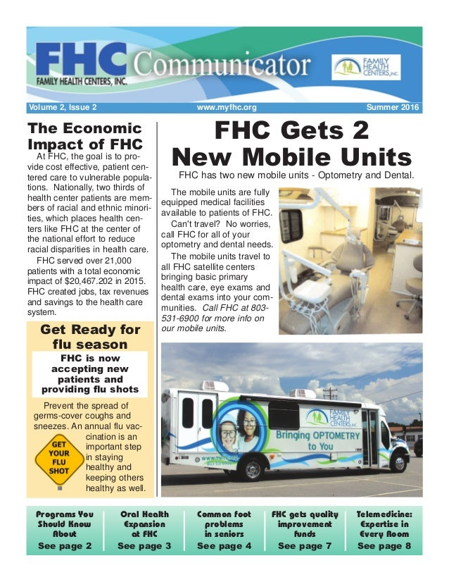Volume 2, Issue 2 www.myfhc.org Summer 2016 Telemedicine: Expertise in Every Room See page 8 FHC gets quality improvement ...