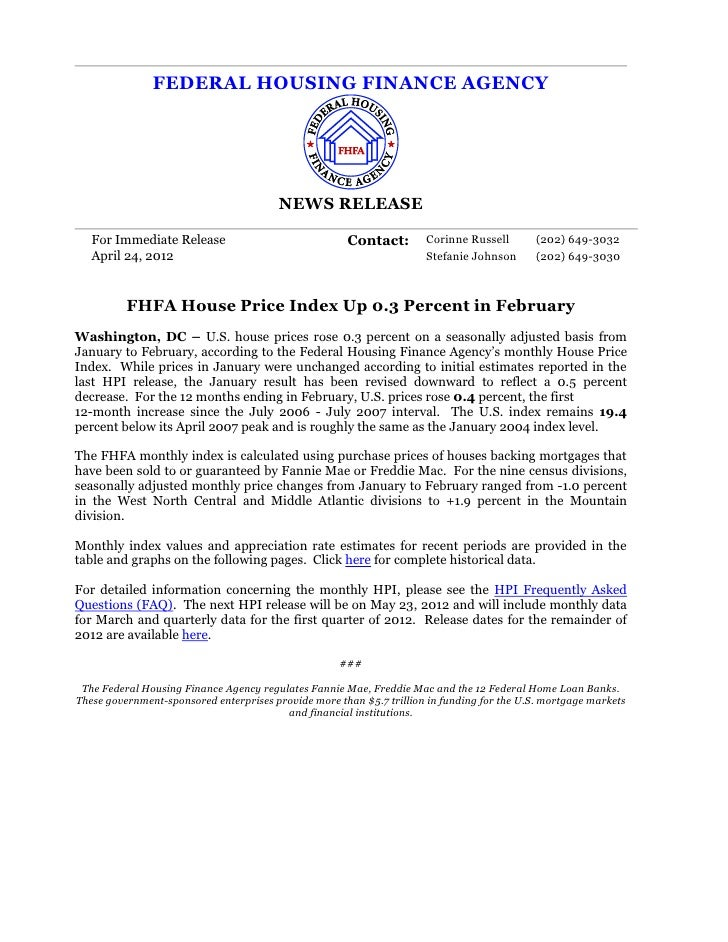 FEDERAL HOUSING FINANCE AGENCY                                        NEWS RELEASE   For Immediate Release                ...