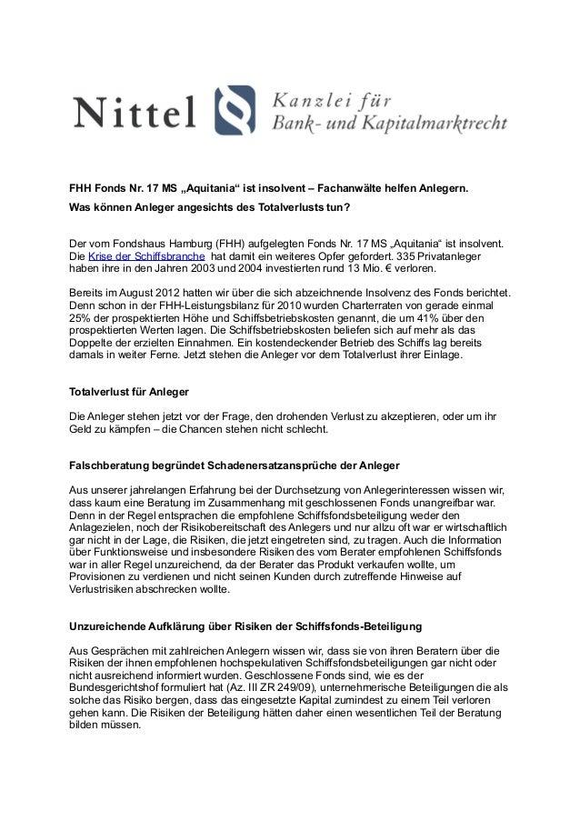 """FHH Fonds Nr. 17 MS """"Aquitania"""" ist insolvent – Fachanwälte helfen Anlegern.Was können Anleger angesichts des Totalverlust..."""