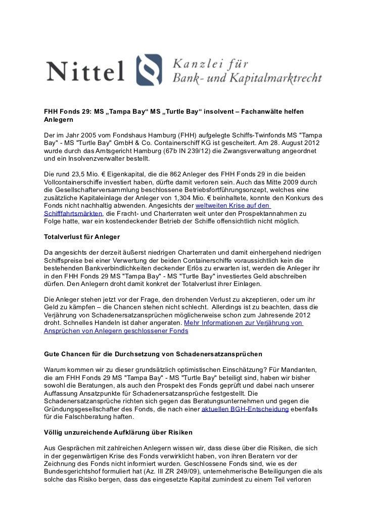 """FHH Fonds 29: MS """"Tampa Bay"""" MS """"Turtle Bay"""" insolvent – Fachanwälte helfenAnlegernDer im Jahr 2005 vom Fondshaus Hamburg ..."""
