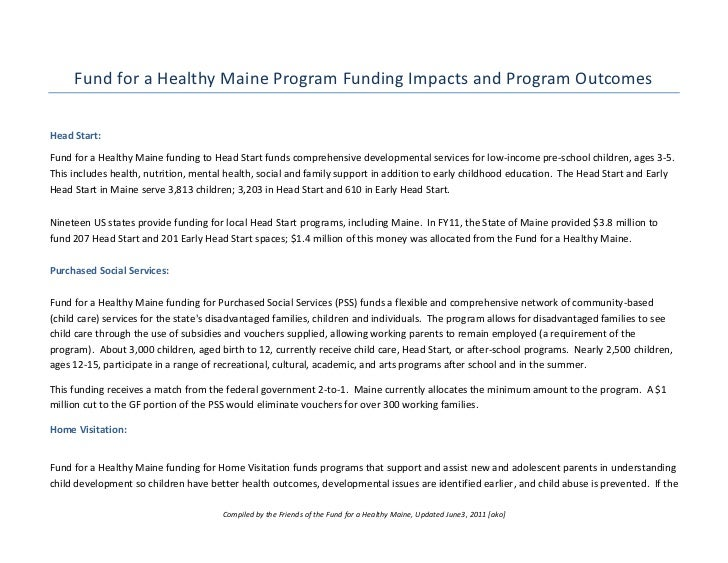 Fund for a Healthy Maine Program Funding Impacts and Program OutcomesHead Start:Fund for a Healthy Maine funding to Head S...