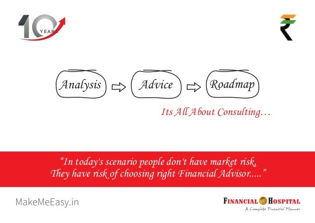 """Y E A R S Its All About Consulting… Analysis Advice Roadmap """"In today's scenario people don't have market risk, They have ..."""