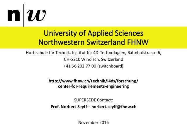 University	of	Applied	Sciences	 Northwestern	Switzerland	FHNW Hochschule	für	Technik,	Institut	für	4D-Technologien,	Bahnho...