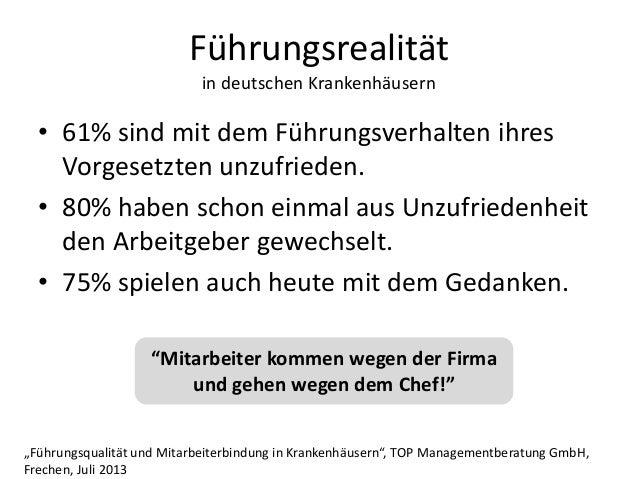 Führungsrealität in deutschen Krankenhäusern • 61% sind mit dem Führungsverhalten ihres Vorgesetzten unzufrieden. • 80% ha...