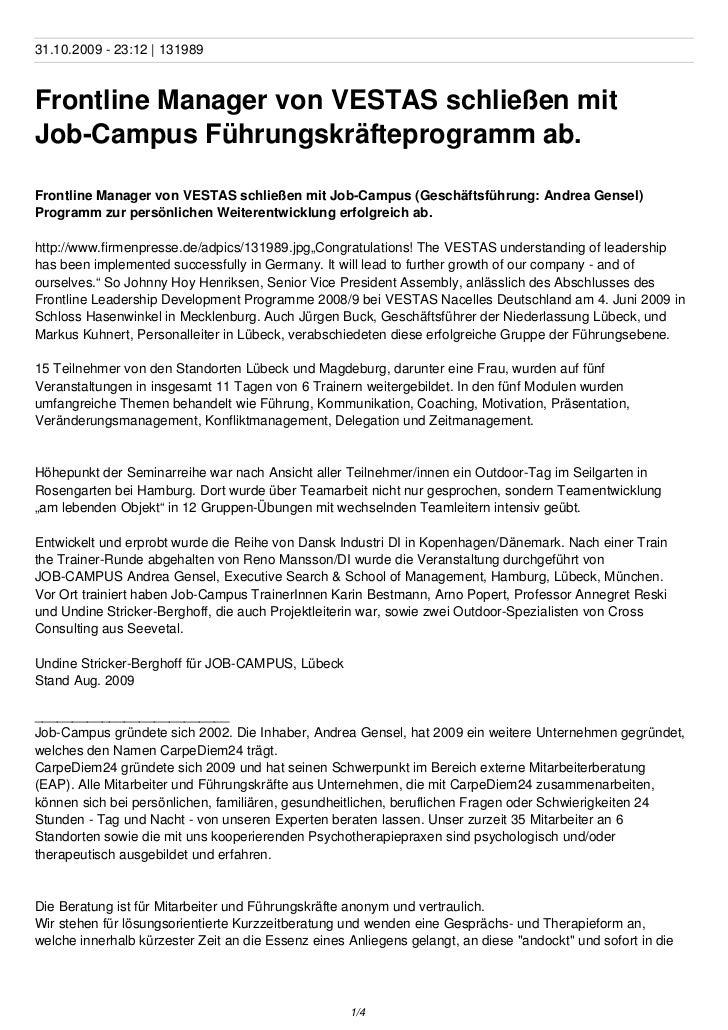 31.10.2009 - 23:12 | 131989Frontline Manager von VESTAS schließen mitJob-Campus Führungskräfteprogramm ab.Frontline Manage...