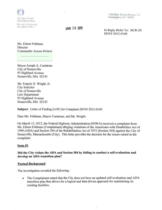 FHWA findings Somerville. MA #Disability rights complaint, smrdact #2012-0140 January 30,2015